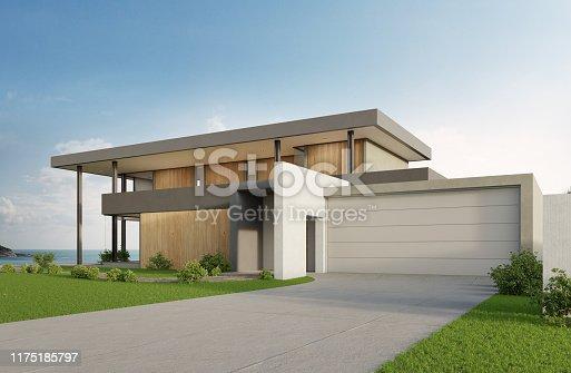 3d illustration of contemporary holiday villa exterior.