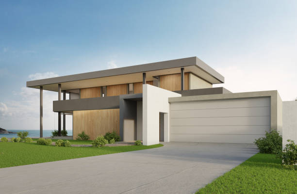Luxury beach house with sea view swimming pool and big garage in modern design. Empty green grass lawn at vacation home. 3d illustration of contemporary holiday villa exterior. modern house stock pictures, royalty-free photos & images