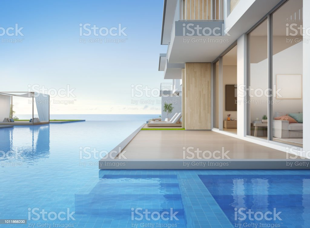 Luxury Beach House With Sea View Swimming Pool And Empty Terrace In Modern  Design Lounge Chairs On Wooden Floor Deck At Vacation Home Or Hotel 3d ...
