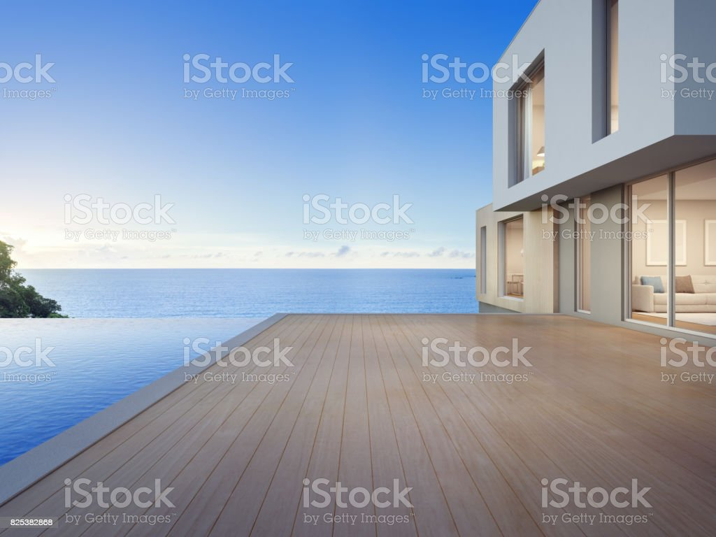 Luxury beach house with sea view swimming pool and empty terrace in modern design, Vacation home for big family stock photo