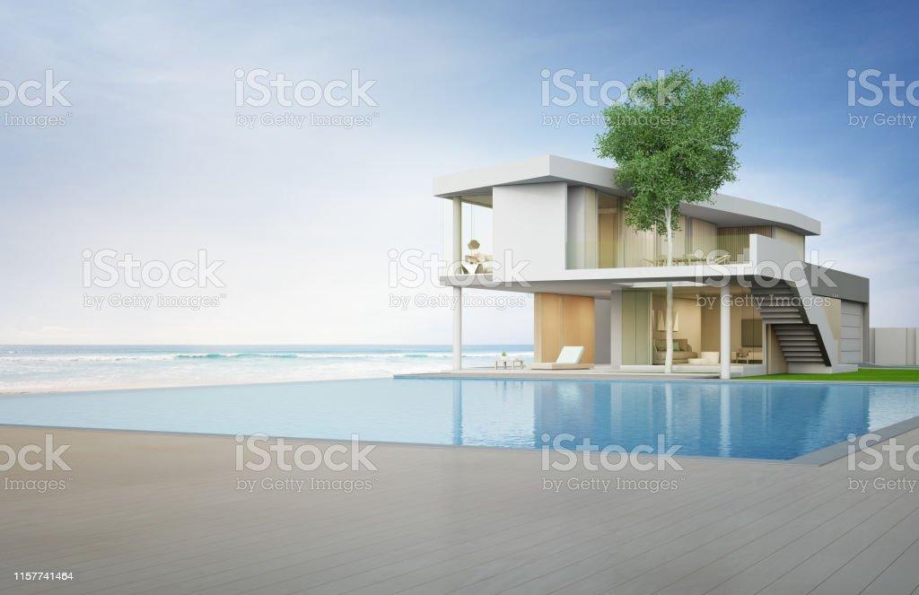 Casa De Playa De Lujo Con Vistas Al Mar Piscina Y Terraza De