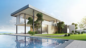 3d illustration of contemporary holiday villa exterior.