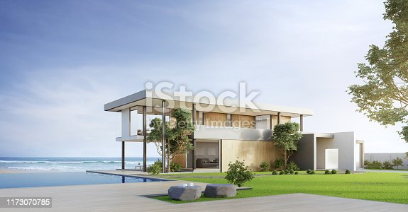 Empty wooden floor deck at vacation home. 3d illustration of contemporary holiday villa exterior.