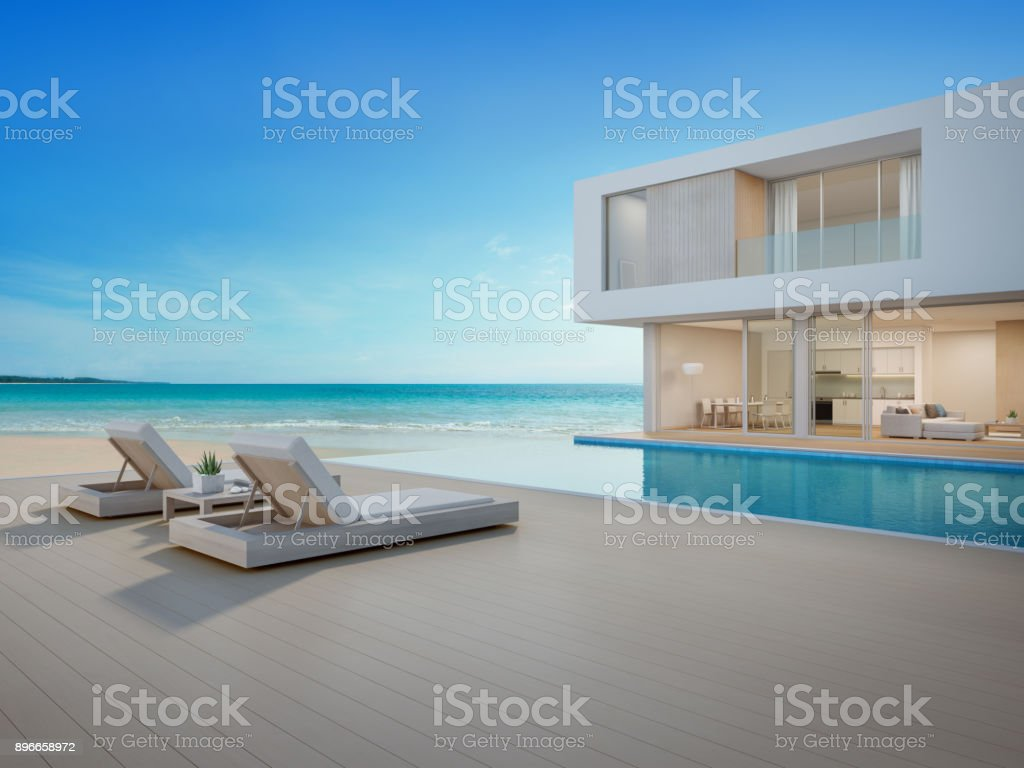Luxury Beach House With Sea View Swimming Pool And Terrace In Modern Design,  Lounge Chairs