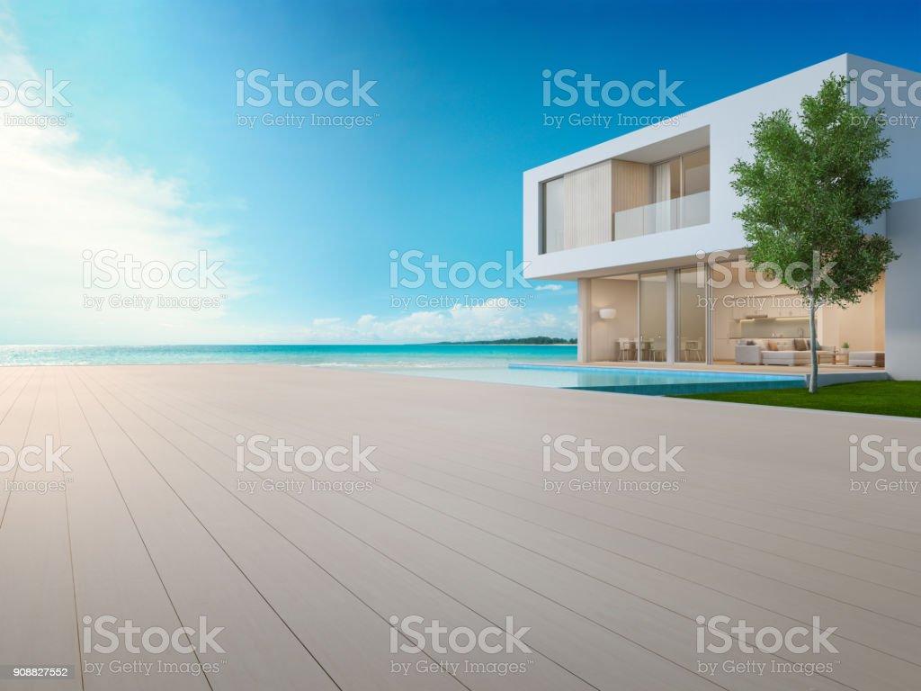 Luxusstrandhaus Mit Swimmingpool Mit Blick Auf Meer Und Terrasse In ...