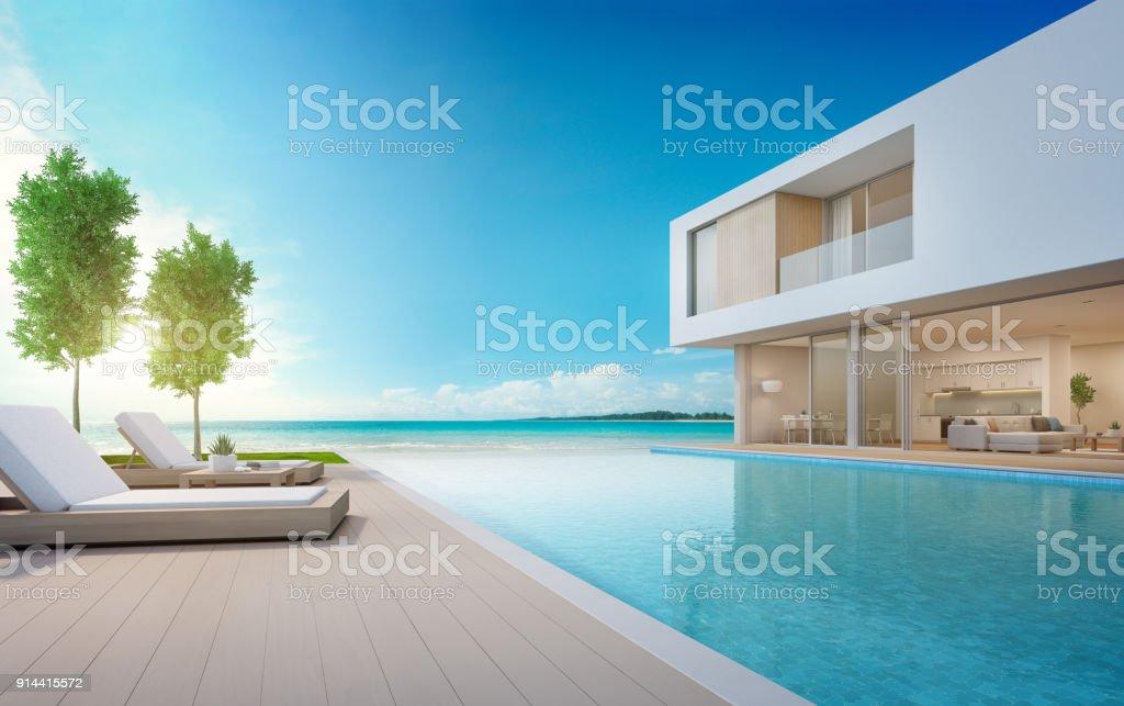 Maison de plage de luxe avec piscine de la vue mer et for Plage piscine moderne