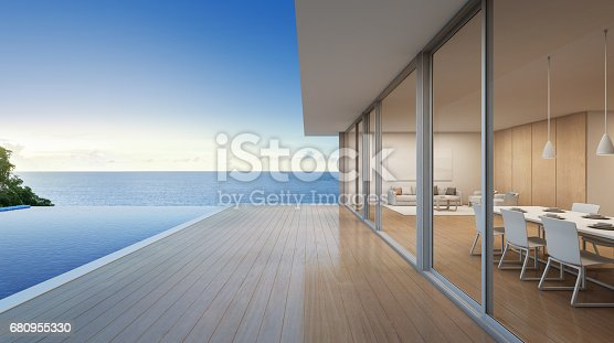 istock Luxury beach house with sea view swimming pool in modern design, Vacation home for big family 680955330