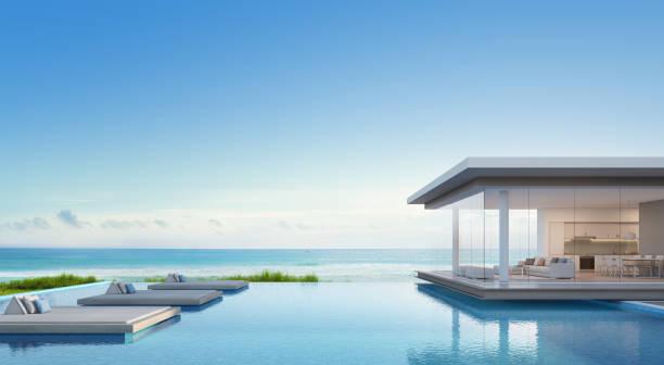 luxus-strand-haus mit meer blick swimming pool in modernem design, ferienhaus für große familie - traumhaus stock-fotos und bilder