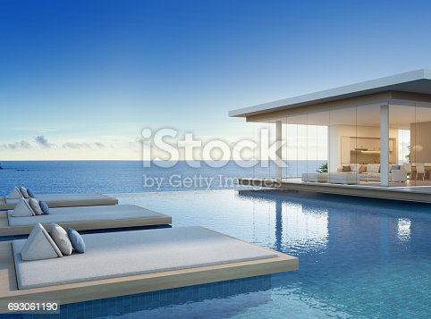 istock Luxury beach house with sea view swimming pool in modern design, Vacation home for big family 693061190