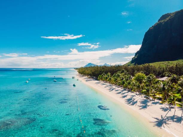 Luxusstrand mit Berg in Mauritius. Sandstrand mit Palmen und blauem Ozean. Luftbild – Foto