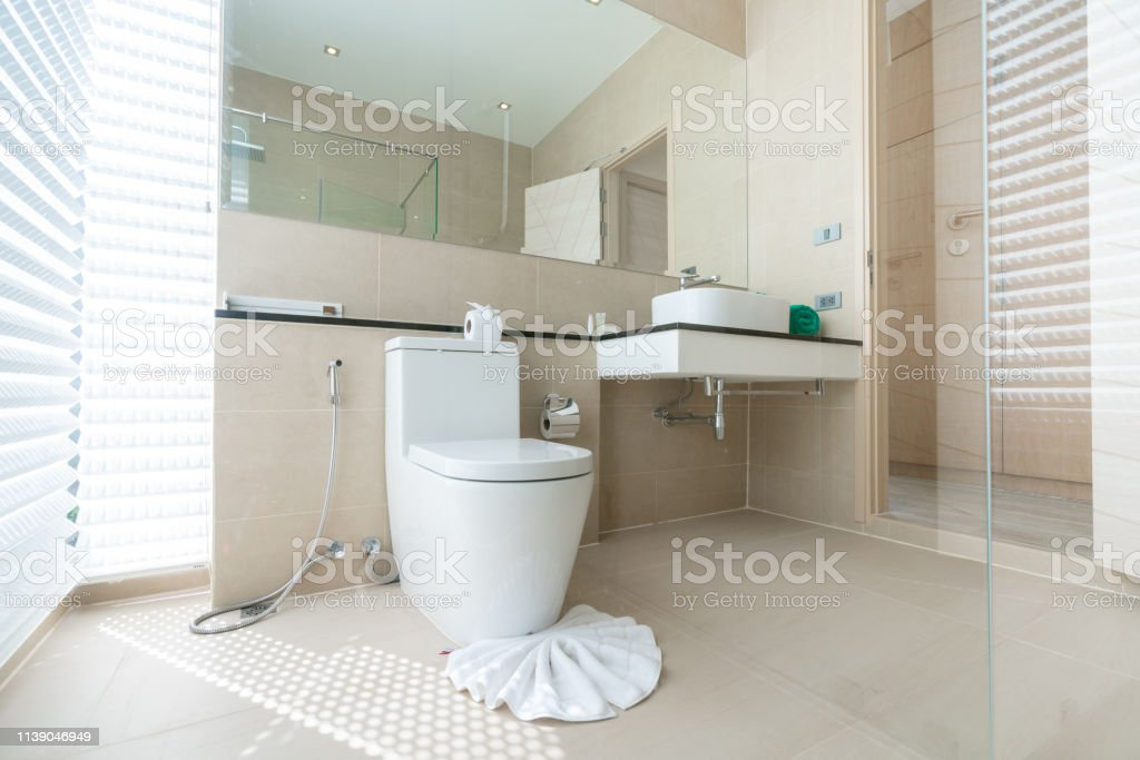 Luxury Beautiful Interior Real Bathroom Features Basin Toilet Bowl In The House Or Home Building Stock Images Page Everypixel