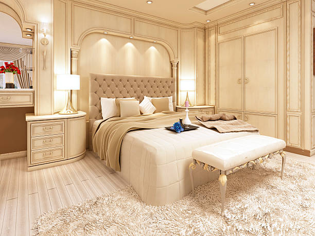 Luxury bed in a large neoclassical bedroom with decorative niche stock  photo. Expensive Bed At Neoclassic Bedroom Pictures  Images and Stock