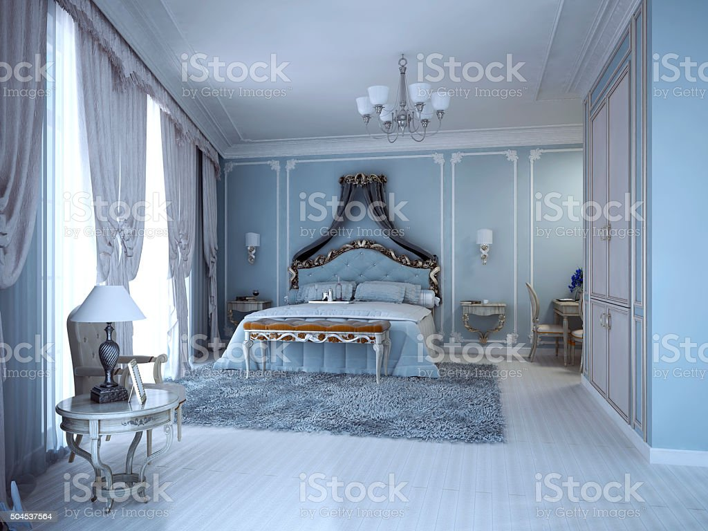 Luxury bedrom in private house stock photo