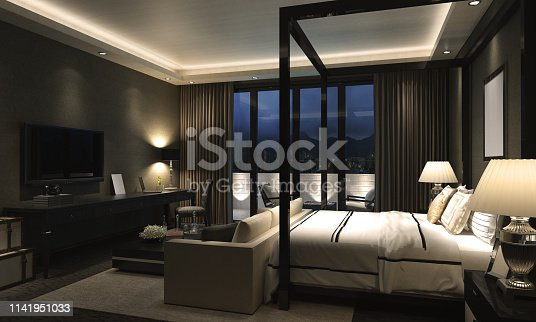 Luxury designed bedroom interior scene. ( 3d render )