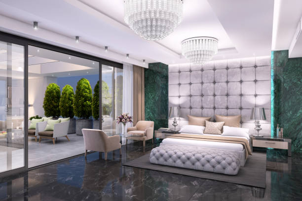 Luxury bedroom interior with large terrace Luxury hotel like bedroom interior with large bed, seat, and terrace. expensive marble wall and decorative ceiling. copy space render luxury hotel room stock pictures, royalty-free photos & images