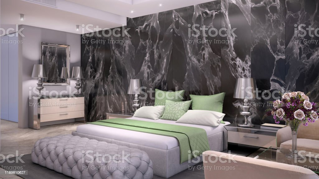 Luxury Bedroom Interior With Marble Wall Stock Photo Download Image Now Istock