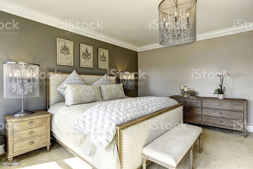 Luxury bedroom interor stock photo