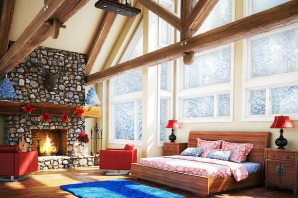 luxus schlafzimmer (christmas theme) - cottage schlafzimmer stock-fotos und bilder