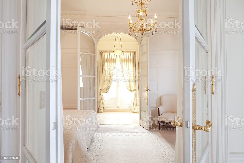 Luxury Bedroom Suite in Paris royalty-free stock photo