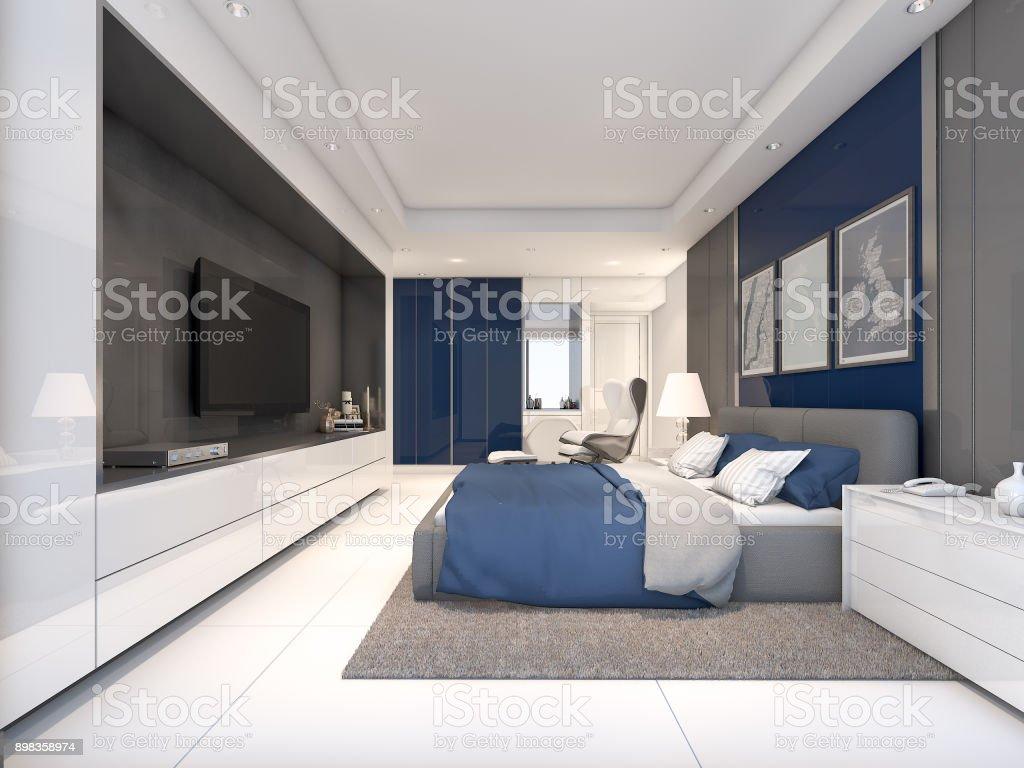 Luxus Schlafzimmer Mit Navy Farbe Ideen, 3D Rendering Lizenzfreies  Stock Foto