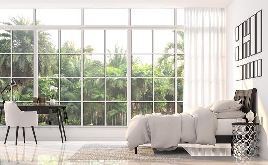 Luxury bedroom with palm garden view 3d render