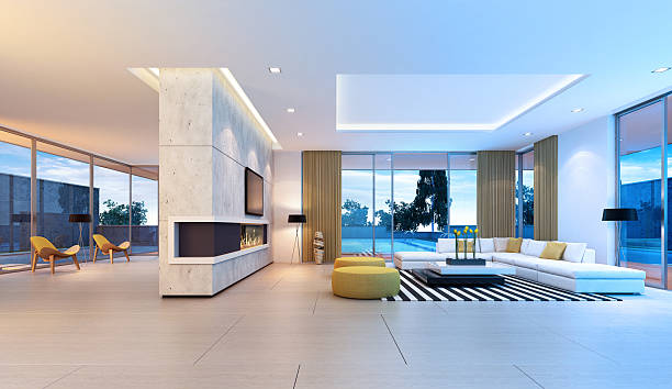 Luxo grande Interior da Villa - foto de acervo