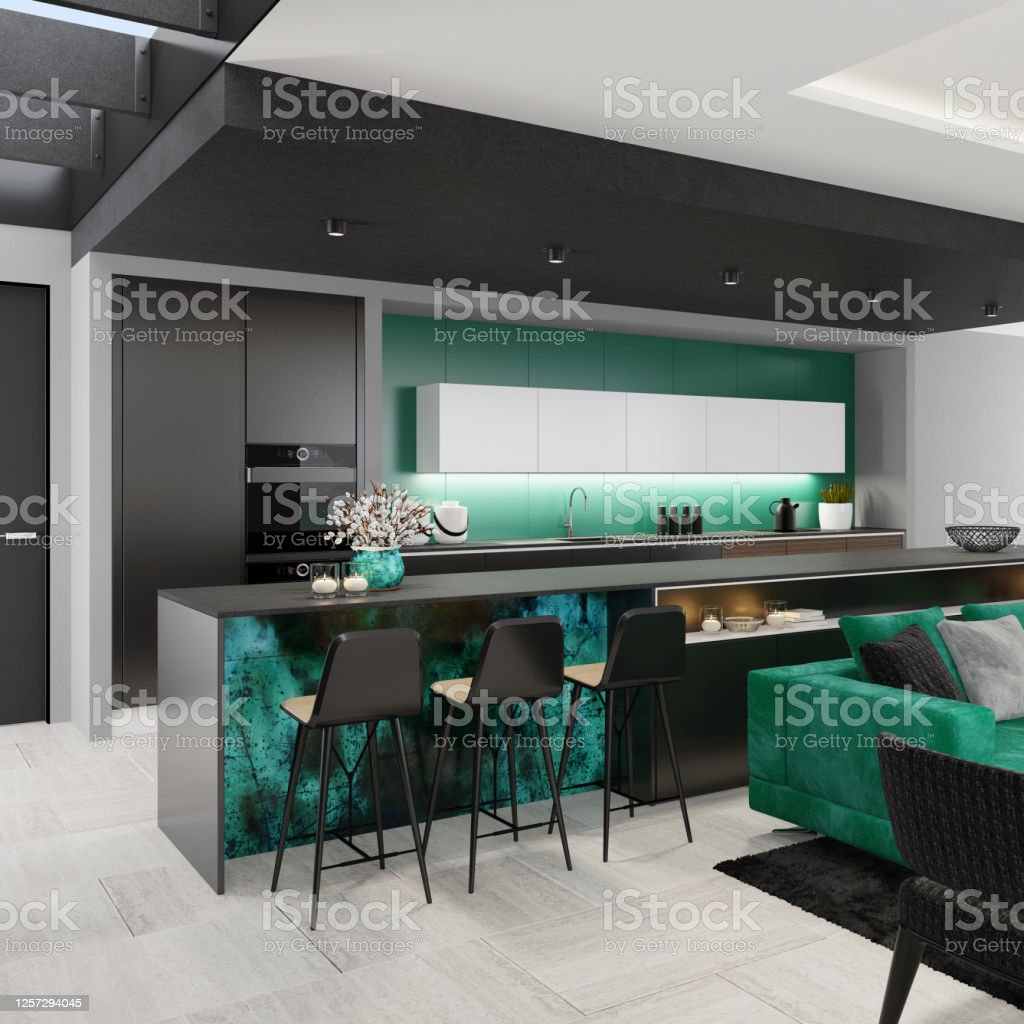 Luxury Black And Green Interior Living Room With Modern Minimalist Italian Style Open Space Kitchen With Big Long Kitchen Island Stock Photo Download Image Now Istock