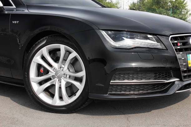 Luxury black car Audi S7 in the city stock photo