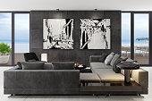 istock Luxury black interior living room with modern minimalist Italian style furniture 1250307269