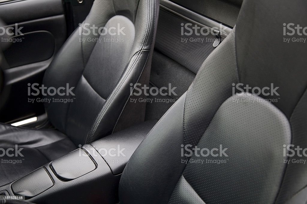 Luxury black leather sports car seats royalty-free stock photo