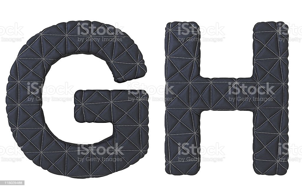 Luxury black stitched leather font G H letters royalty-free stock photo