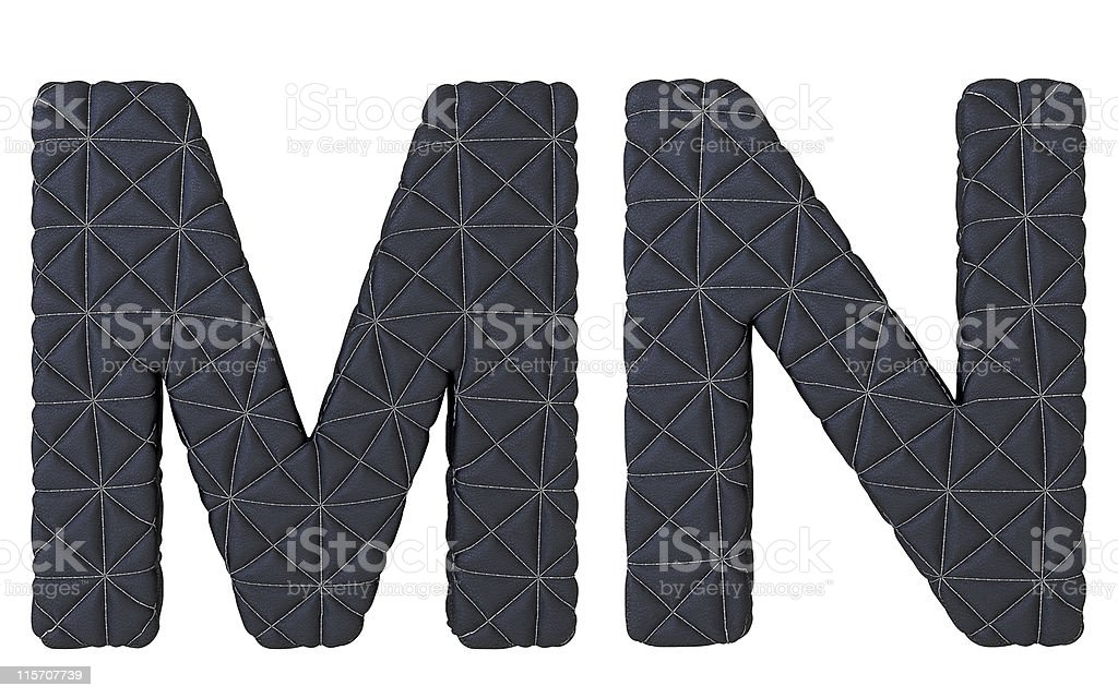 Luxury black stitched leather font M N letters royalty-free stock photo