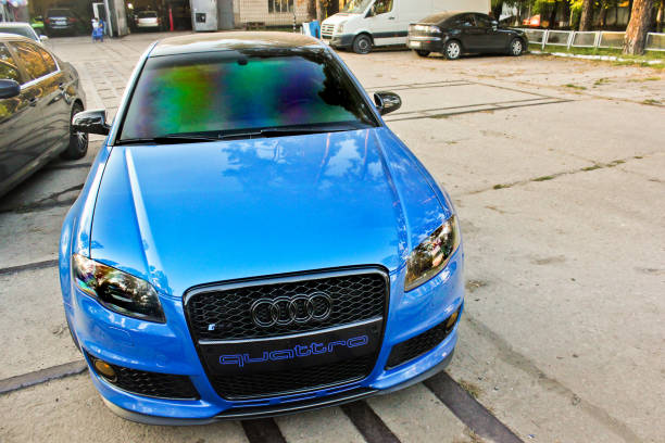 Luxury blue car Audi RS4 4.2 TFSI carbon package in the city stock photo