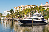 istock Luxury Boat Docked by Residential Buildings in Las Olas Fort Lauderdale Florida 1204487963