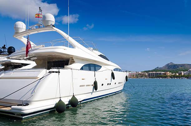 Luxury boat in tropical marina stock photo