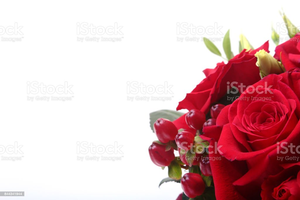 Luxury bouquet made of red and white roses on white background. Decoration for celebration. stock photo