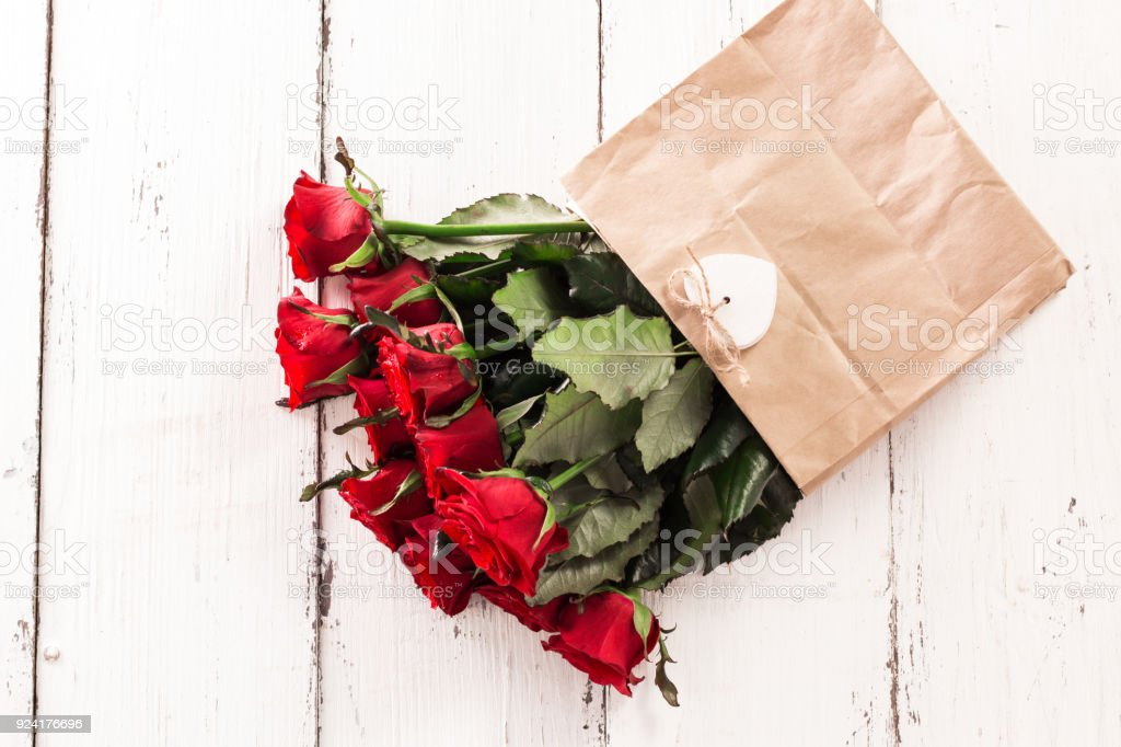 Luxury bouquet made of red roses in flower shop Valentines Bouquet of...