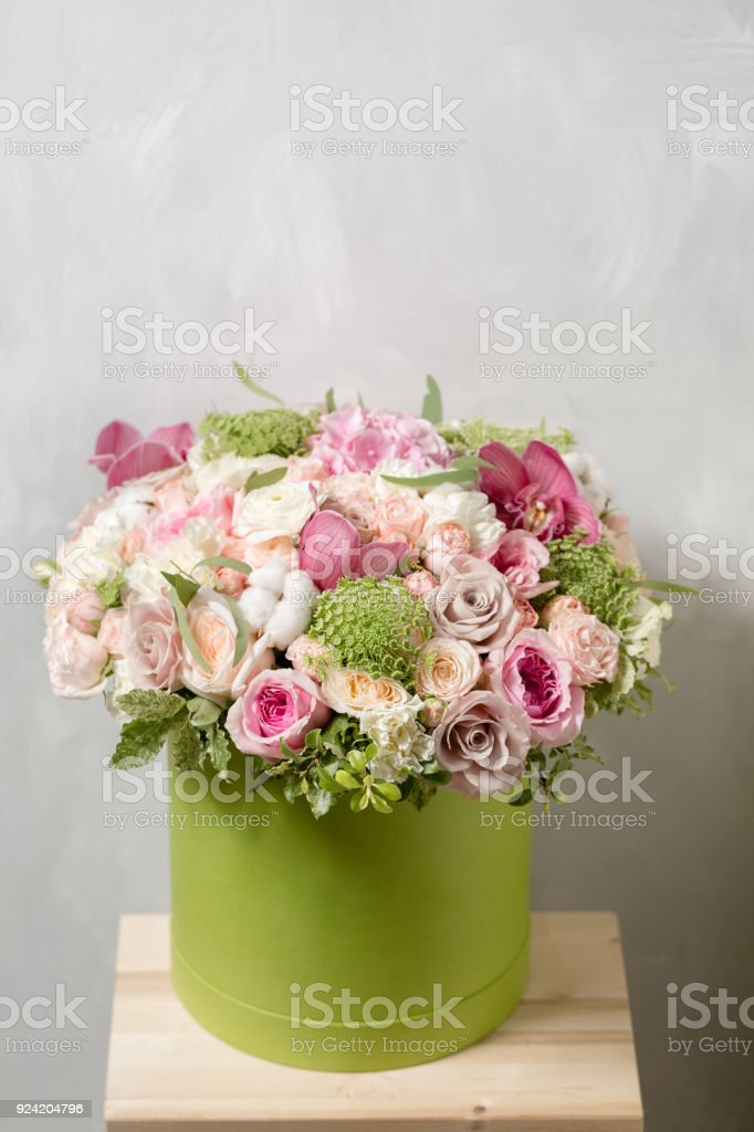 Luxury Bouquets Of Mix Flowers In The Hat Box Stock Photo More