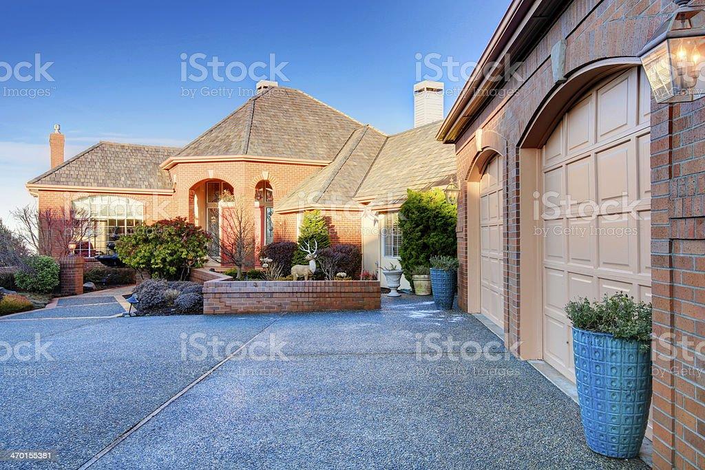 Luxury brick house stock photo