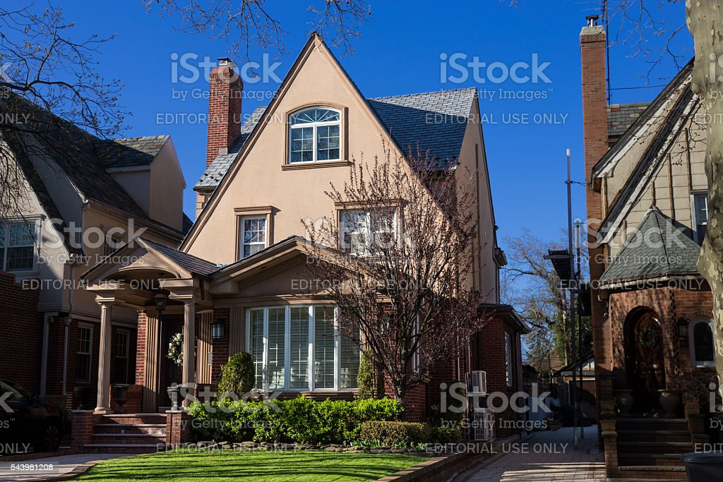 Luxury Brooklyn House and Blue Sky, New York. stock photo