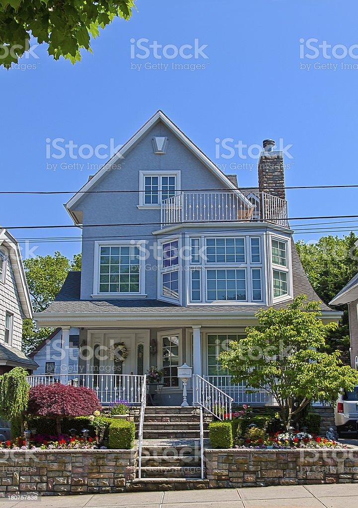Luxury Brooklyn House, New York. Blue sky. royalty-free stock photo