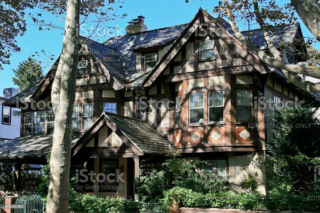 Luxury Brooklyn House, New York. Blue sky. stock photo