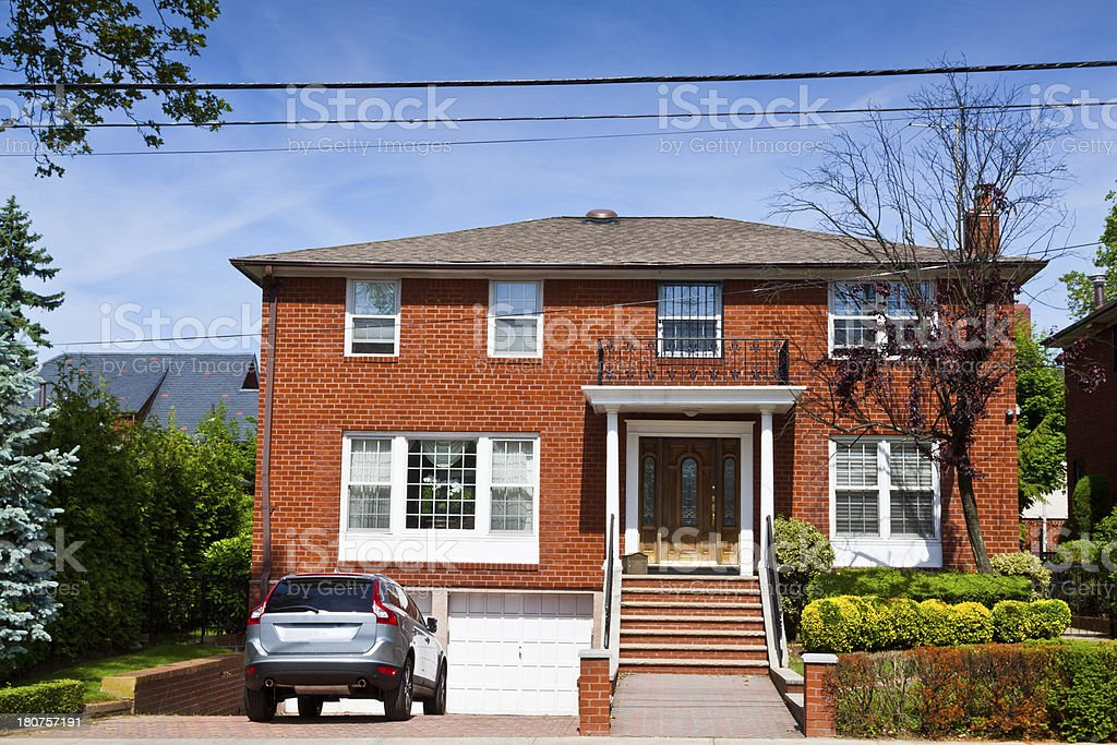 Luxury Brooklyn House, New York. Clear blue sky with clouds. royalty-free stock photo