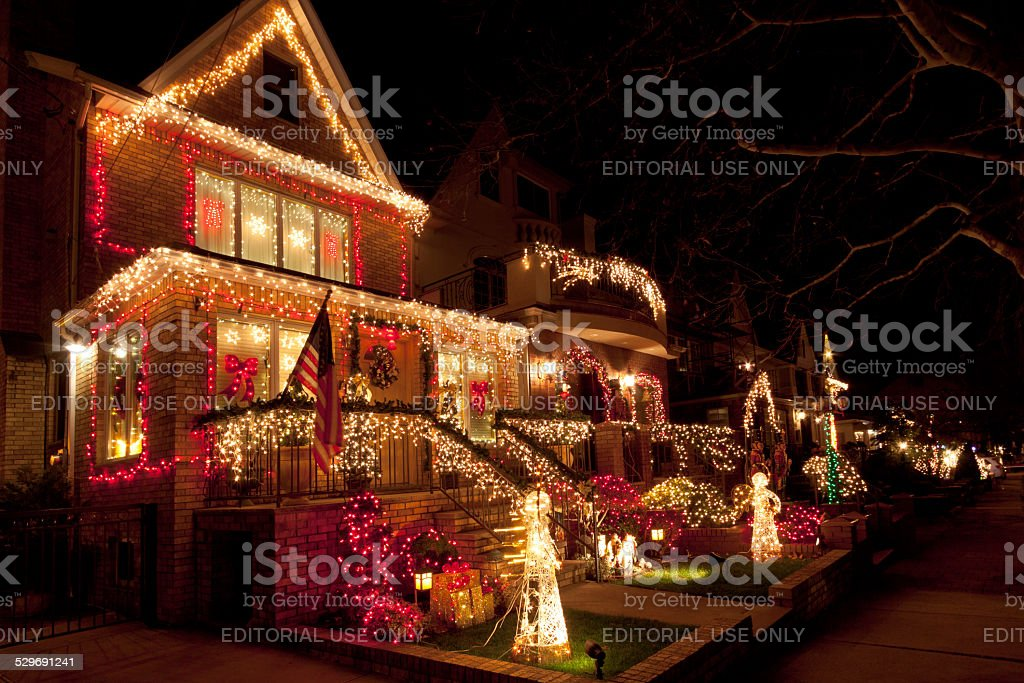luxury brooklyn house with christmas lights at night new york royalty free stock