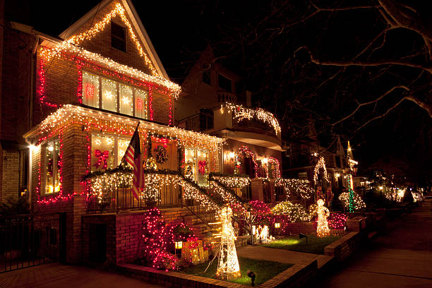 Luxury Brooklyn House with Christmas Lights at night, New York. stock photo