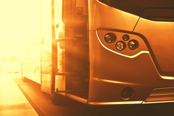Luxury bus in golden colorful stock photo