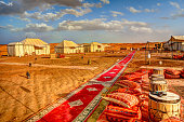 Erg Chebbi, Morocco - March 30, 2019: A luxury camp in the Moroccan Sahara Desert near Erg Chebbi