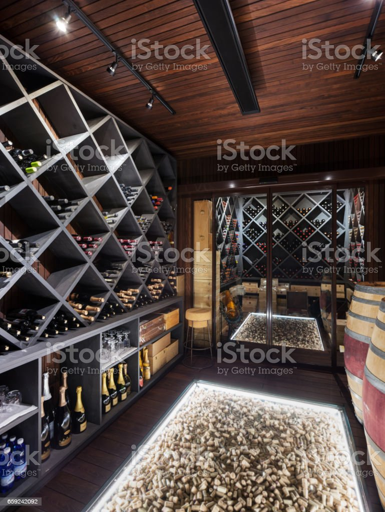luxury cellar of prestigious house stock photo