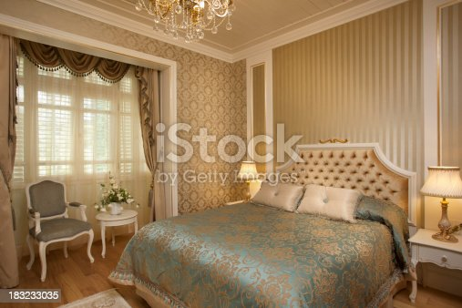 Wide angle luxury hotel suite room. Gold color wall paper. Domestic home bedroom image. Canon 5D Mark2