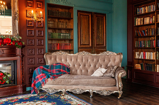 istock Luxury classic interior of home library. Sitting room with bookshelf, books, arm chair, sofa and fireplace 1168905467